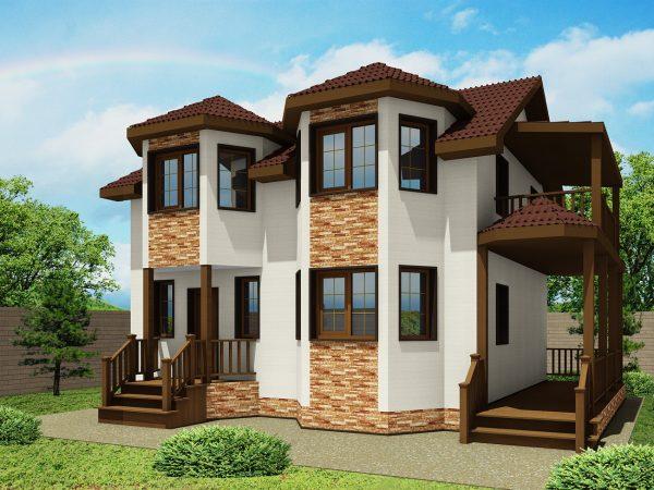 Дизайн фасада дома ЭН-04 под штукатурку и камень