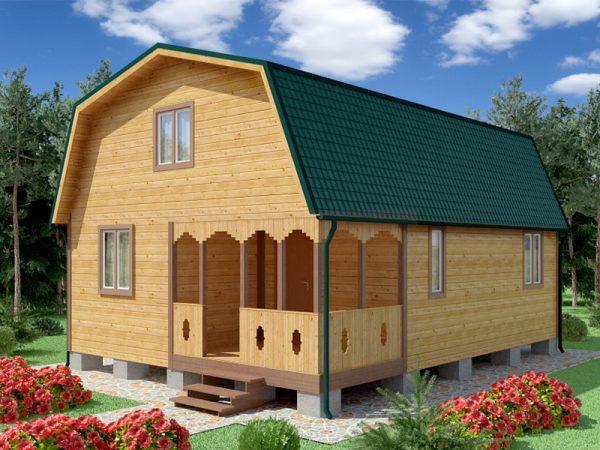 Проект дачного дома 6*8 с зеленой крышей