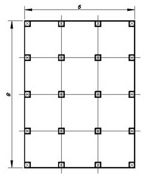План свайного фундамента дачного дома 6*8