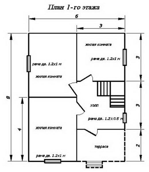 План первого этажа проект 6*8