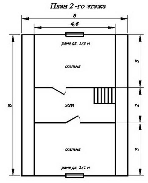 План второго этажа проект 6*8