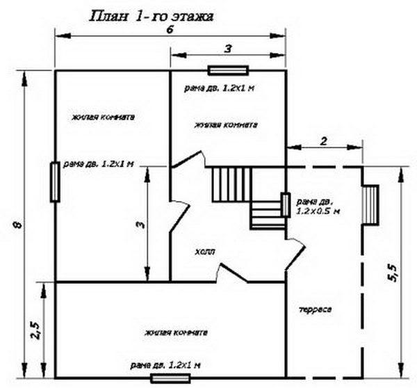 План 1-го этажа проекта 6*8 с террасой