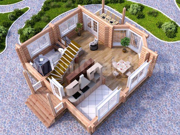 Модель интерьера 1-го этажа проекта Синдика S