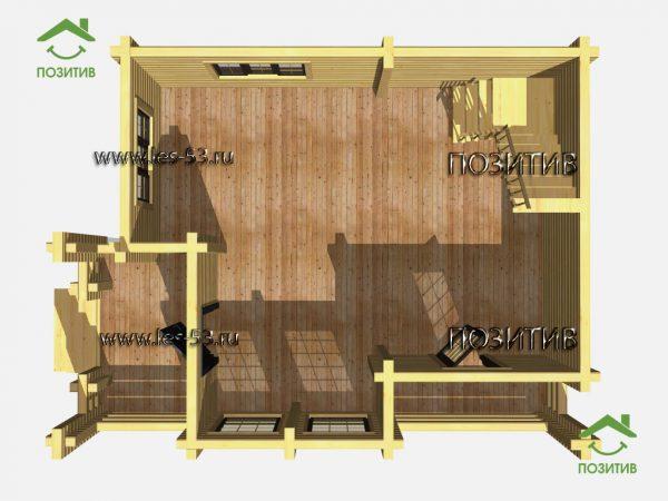Вид 1-го этажа дома из бруса К-31 СК Позитив