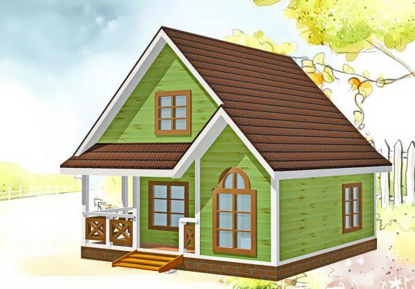 Дизайн фасада дома Сказка с фасадом в зеленом цвете