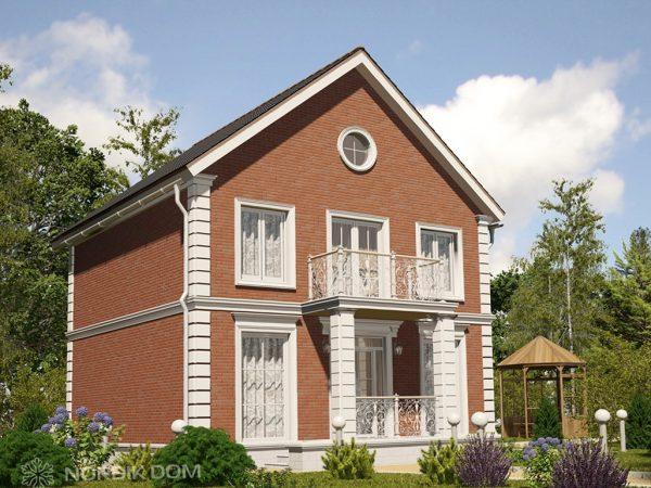 Проект дома из ЛСТК N-154i с отделкой красным кирпичем