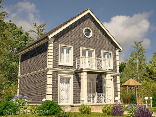 Вариант отделки дома N-154i клинкерной плиткой серого цвета
