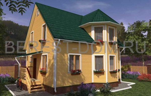Сочетание зеленой кровли и желтого фасада