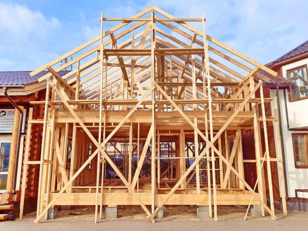Строительство каркасного дома 8*8 м на выставке в Строгино