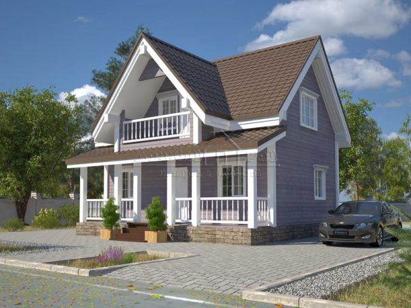Дачный дом с балконом и террасой