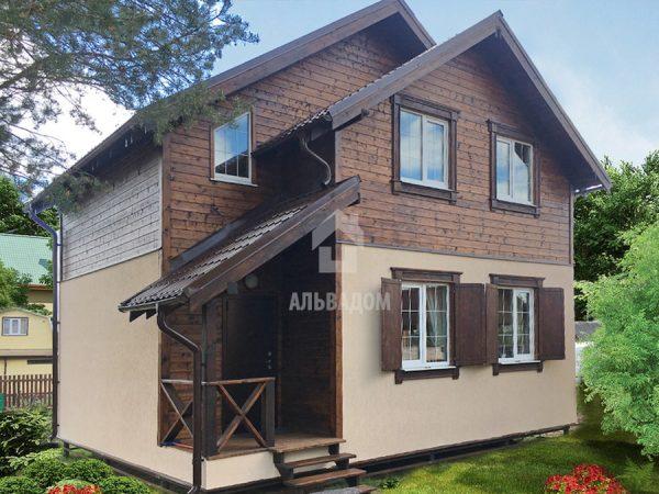 Каркасный дом 8*8м с террасой