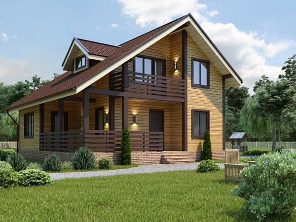 Отделка фасада каркасного дома Tirol имитацией бруса