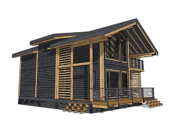 Каркасный дом с террасой TIMBA 150м2