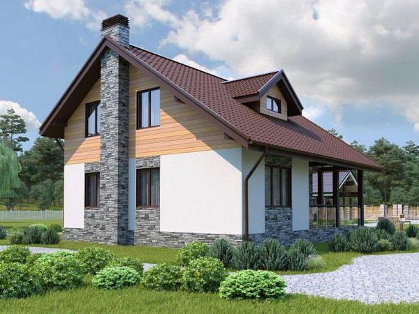 Фасад каркасного дома Tirol на выставке Сндика