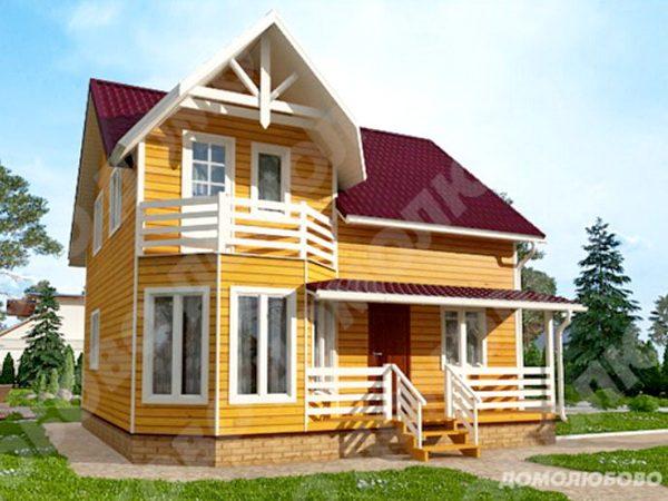 Каркасный дом 8*8 м2 с террасой и балконом