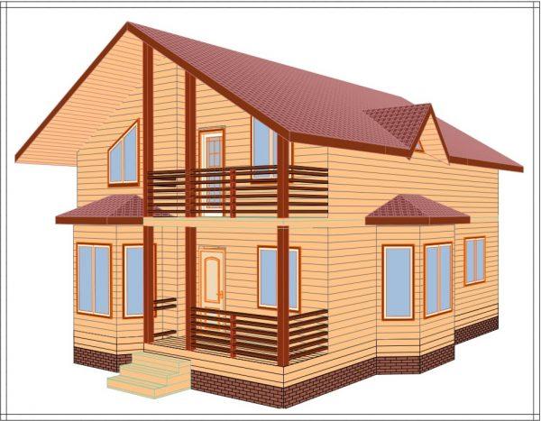 Визуализация каркасного дома Зимний