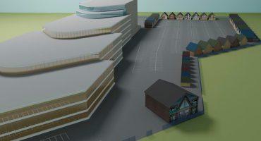 Выставка домов ТРИ КИТА по периметру парковки